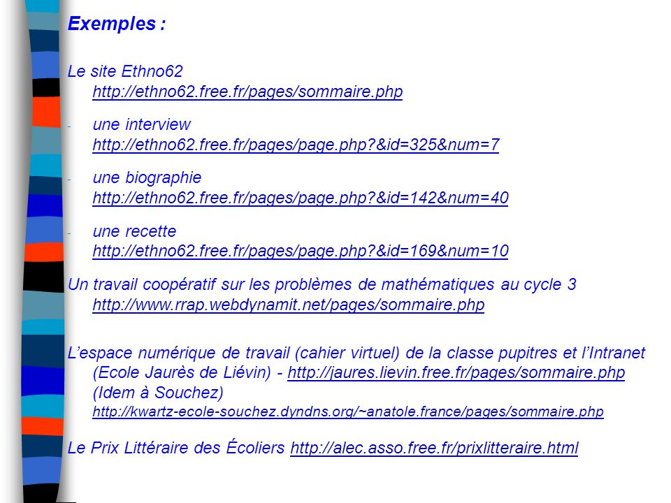 Exemples : Le site Ethno62 http://ethno62.free.fr/pages/sommaire.php