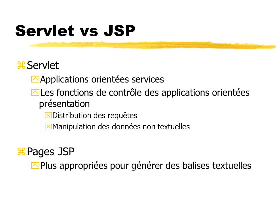 Servlet vs JSP Servlet Pages JSP Applications orientées services