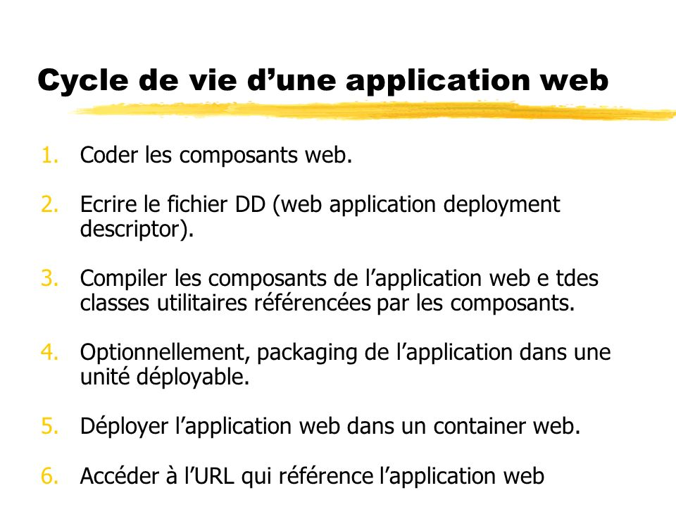 Cycle de vie d'une application web