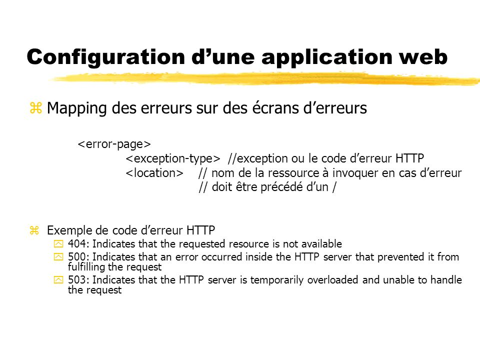 Configuration d'une application web
