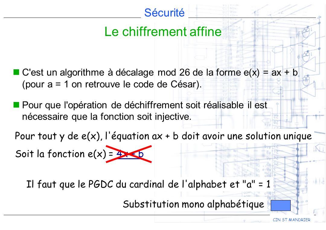 Le chiffrement affine C est un algorithme à décalage mod 26 de la forme e(x) = ax + b (pour a = 1 on retrouve le code de César).