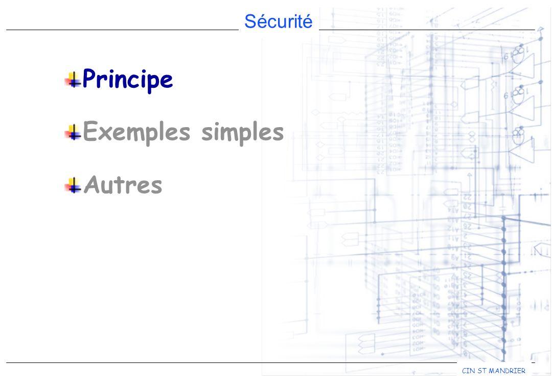 Principe Exemples simples Autres