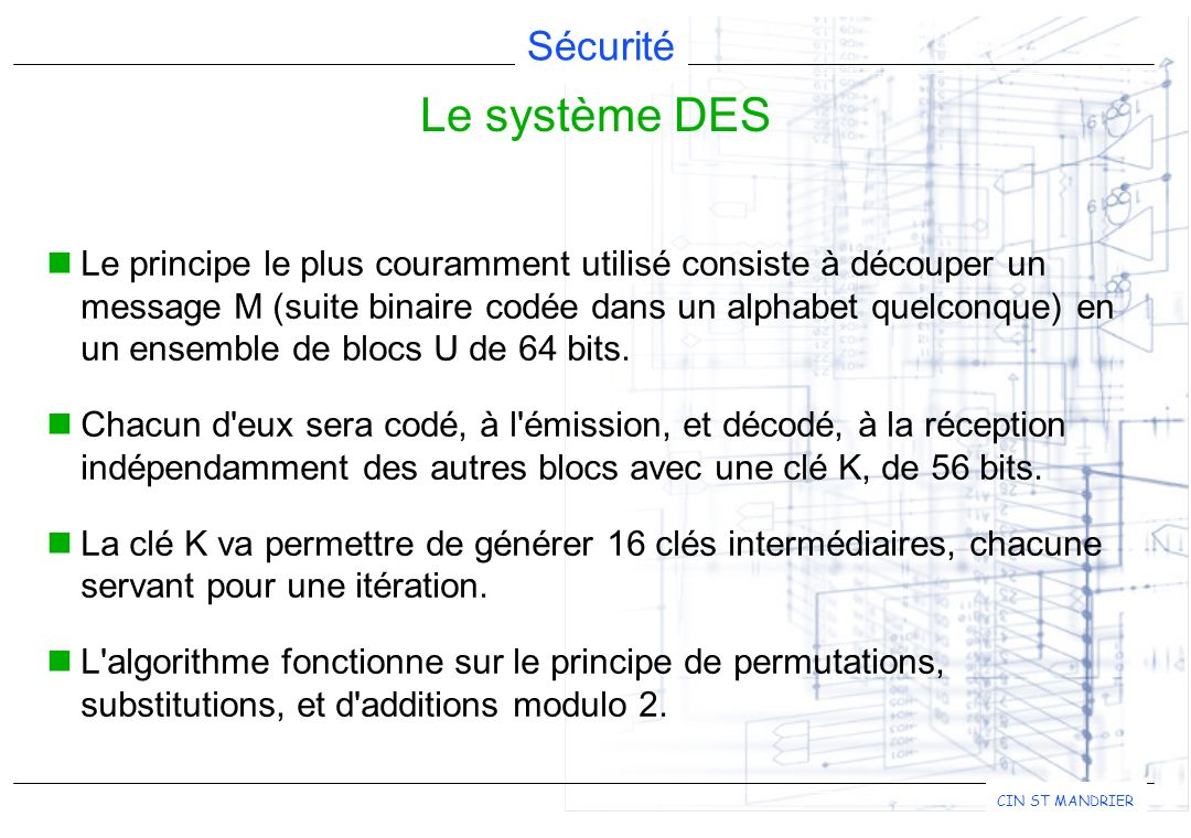 Le système DES