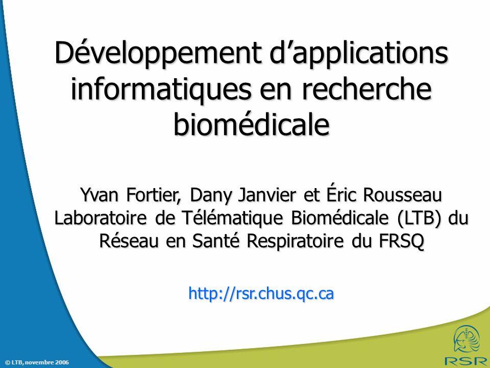 Développement d'applications informatiques en recherche biomédicale