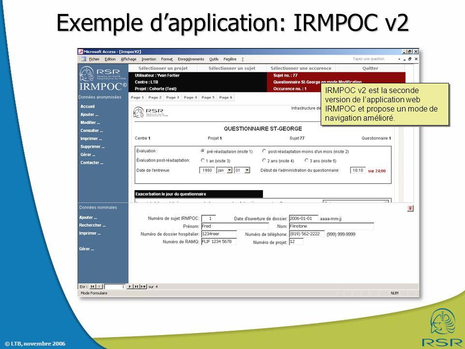 Exemple d'application: IRMPOC v2