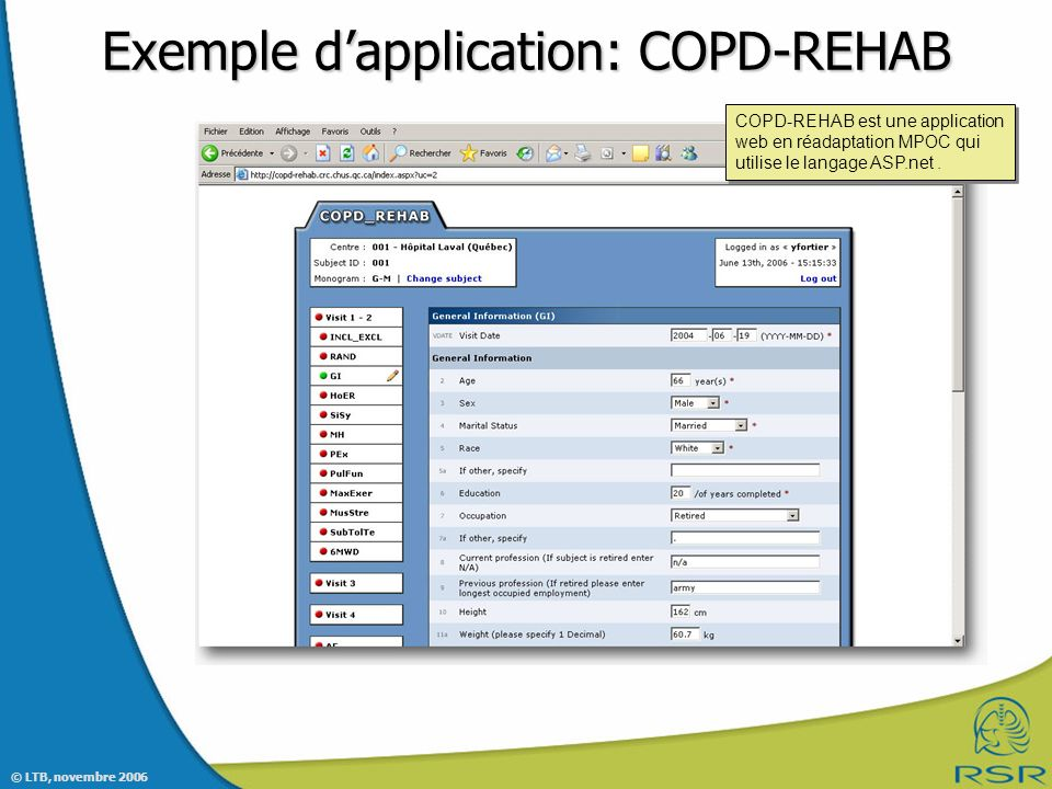 Exemple d'application: COPD-REHAB