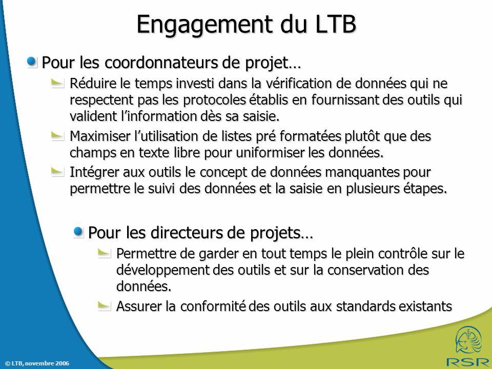 Engagement du LTB Pour les coordonnateurs de projet…