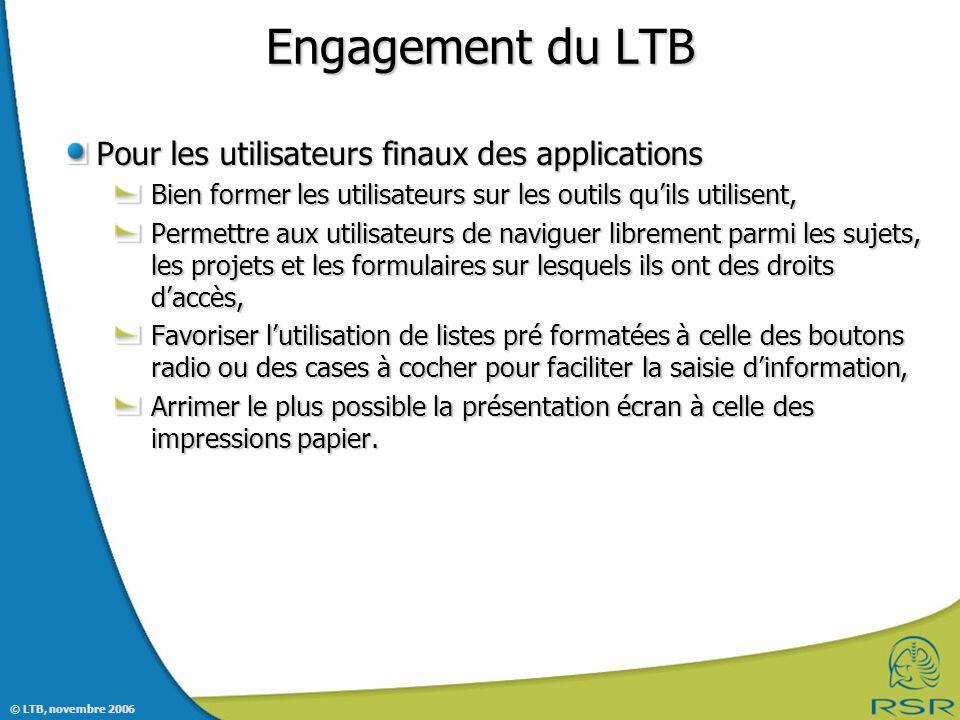 Engagement du LTB Pour les utilisateurs finaux des applications