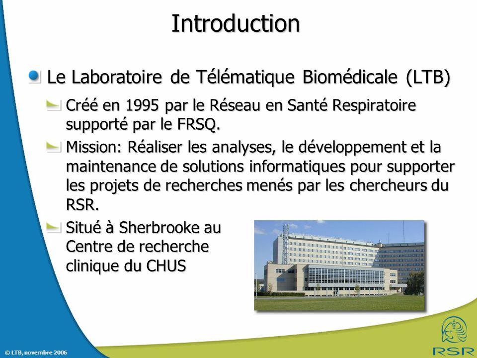 Introduction Le Laboratoire de Télématique Biomédicale (LTB)