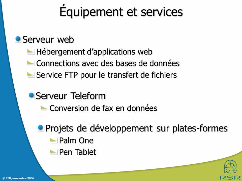 Équipement et services