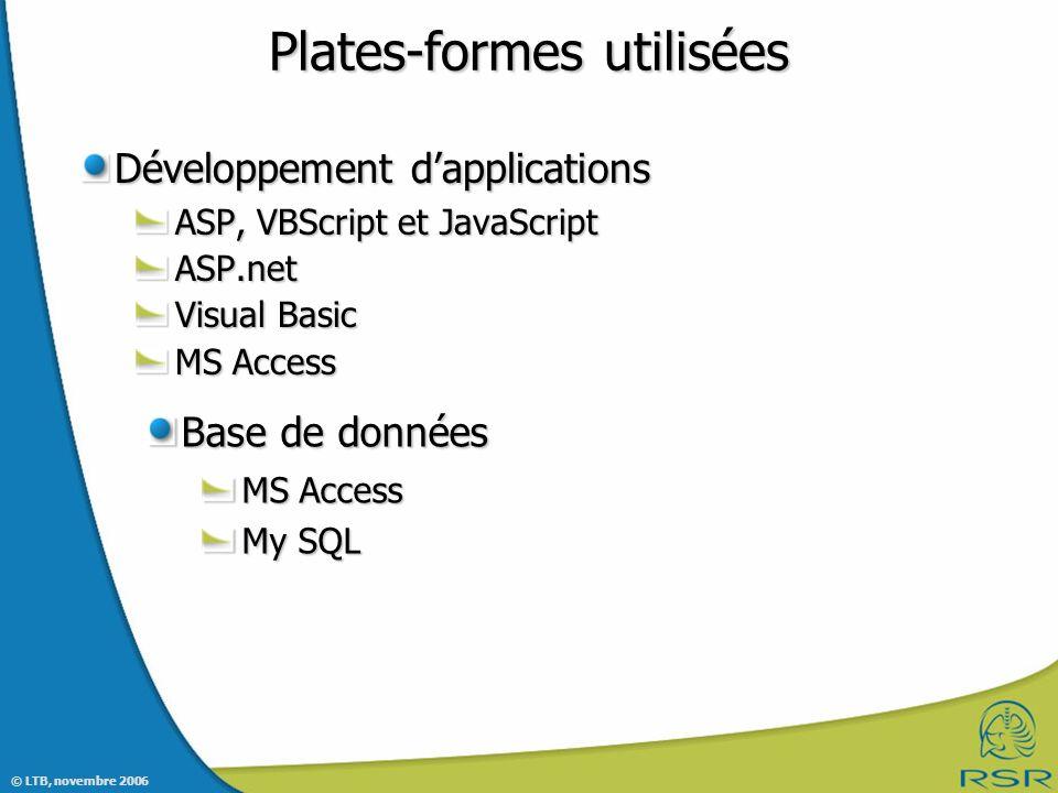 Plates-formes utilisées