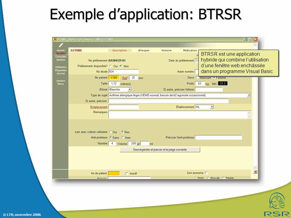 Exemple d'application: BTRSR
