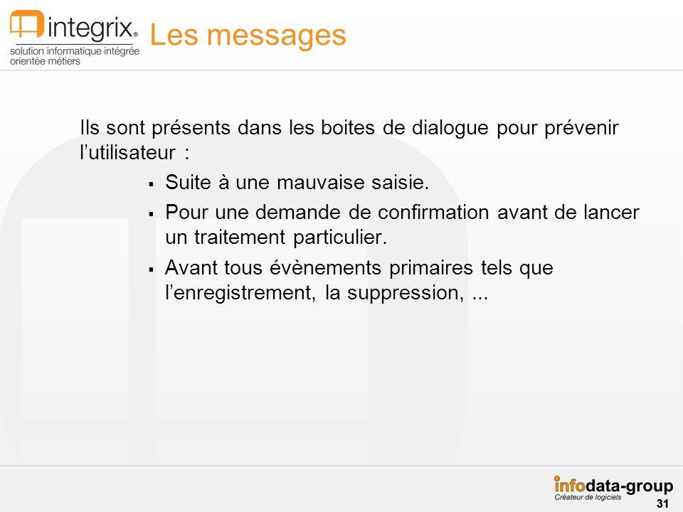 Les messages Ils sont présents dans les boites de dialogue pour prévenir l'utilisateur : Suite à une mauvaise saisie.