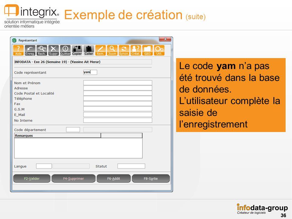 Exemple de création (suite)