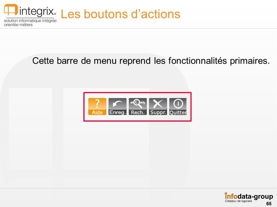 Les boutons d'actions Cette barre de menu reprend les fonctionnalités primaires. 65 65 65