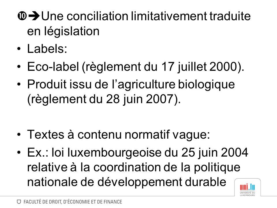 Une conciliation limitativement traduite en législation