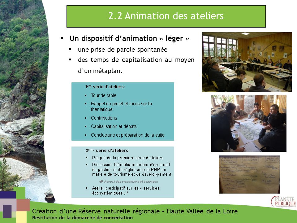 2.2 Animation des ateliers