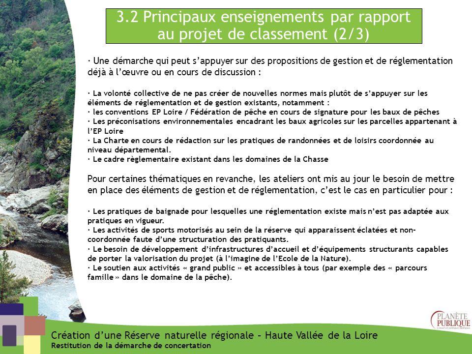 3.2 Principaux enseignements par rapport au projet de classement (2/3)