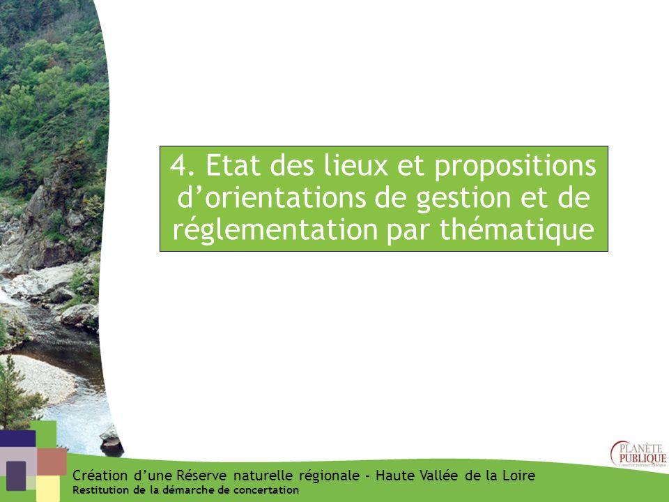 4. Etat des lieux et propositions d'orientations de gestion et de réglementation par thématique