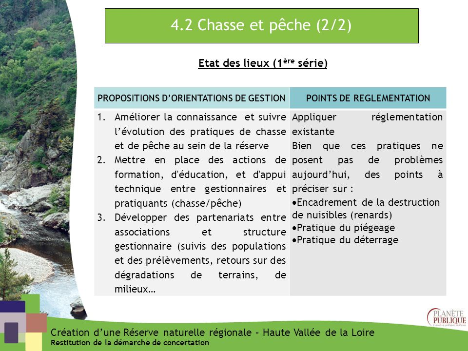 4.2 Chasse et pêche (2/2) Etat des lieux (1ère série)