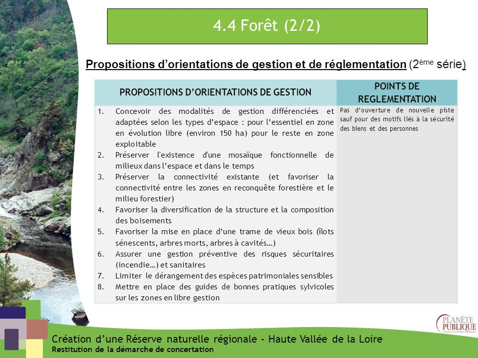 PROPOSITIONS D'ORIENTATIONS DE GESTION POINTS DE REGLEMENTATION