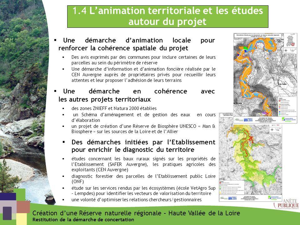 1.4 L'animation territoriale et les études autour du projet
