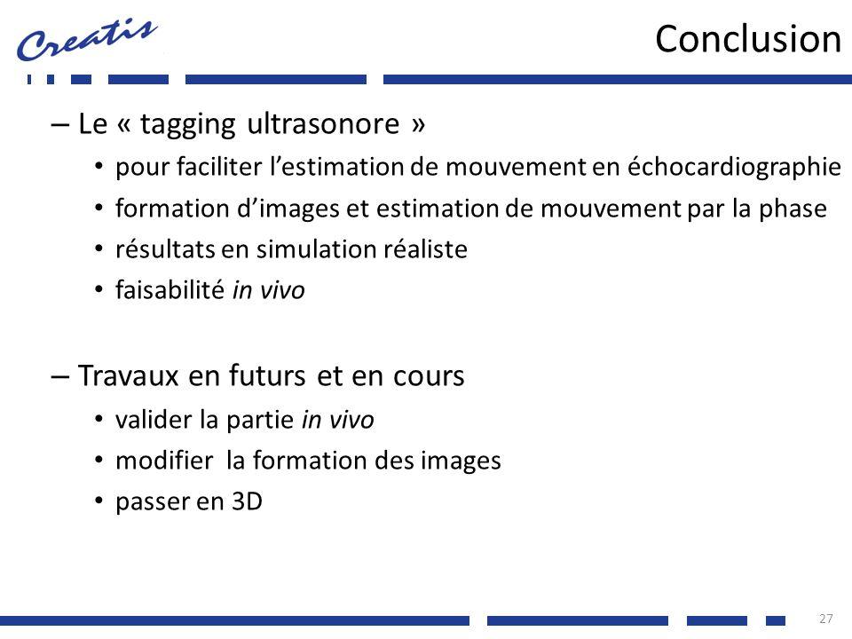 Conclusion Le « tagging ultrasonore » Travaux en futurs et en cours