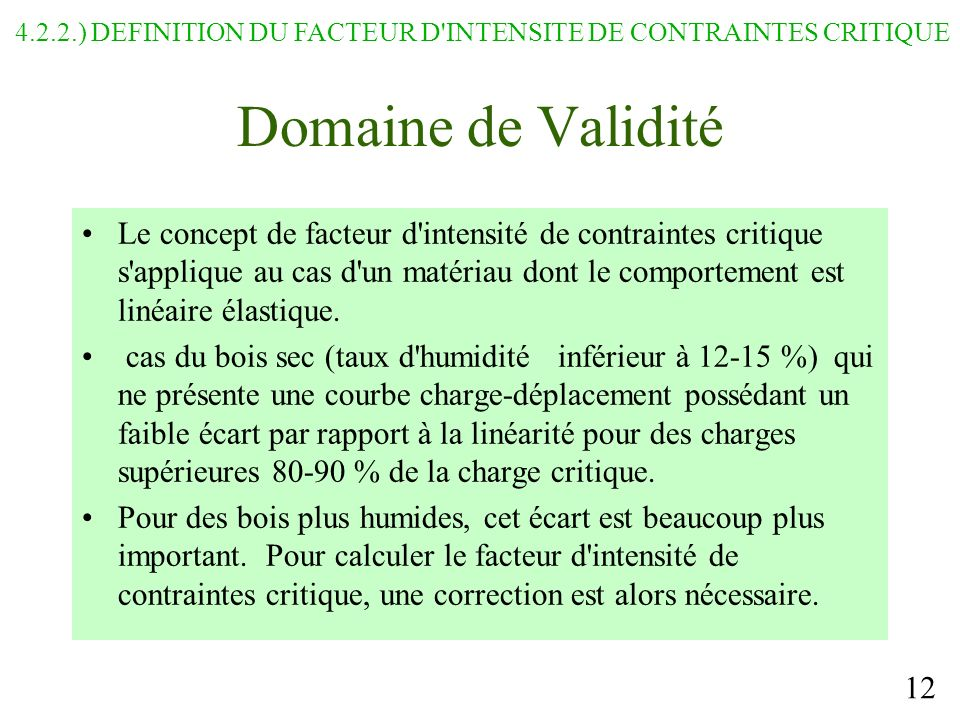 4.2.2.) DEFINITION DU FACTEUR D INTENSITE DE CONTRAINTES CRITIQUE