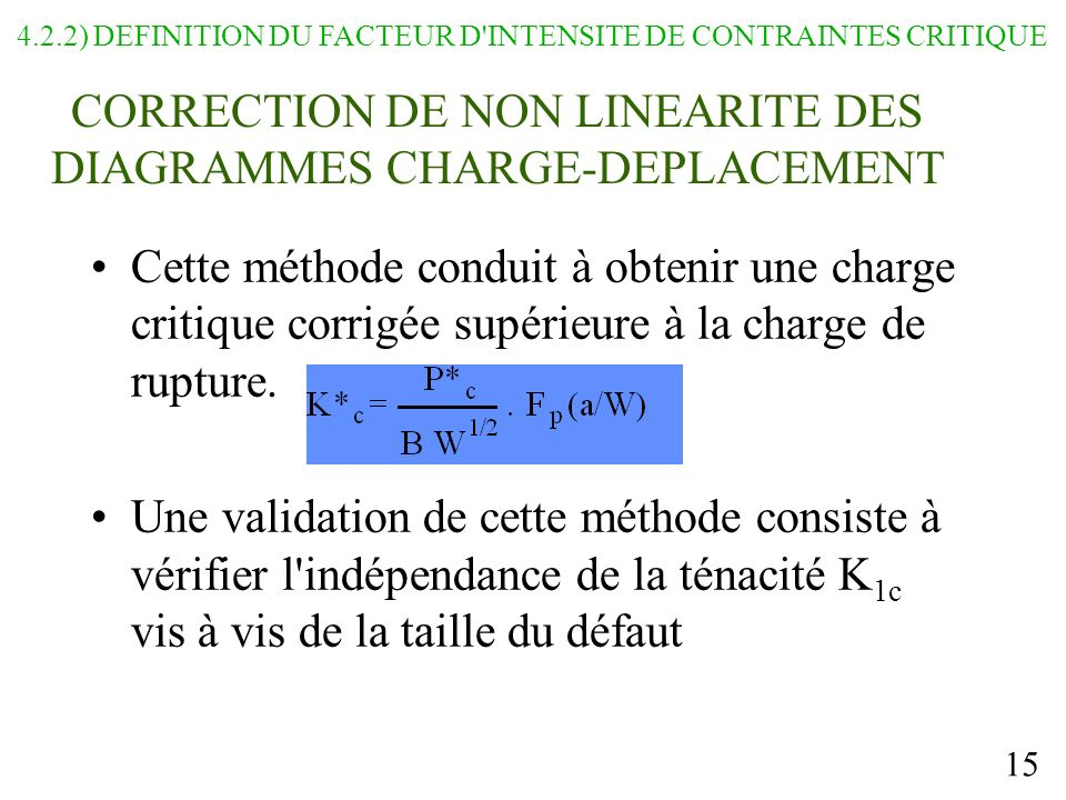 CORRECTION DE NON LINEARITE DES DIAGRAMMES CHARGE-DEPLACEMENT