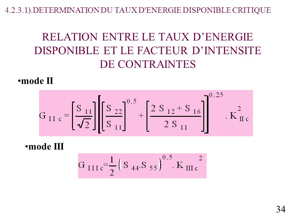 4.2.3.1).DETERMINATION DU TAUX D ENERGIE DISPONIBLE CRITIQUE