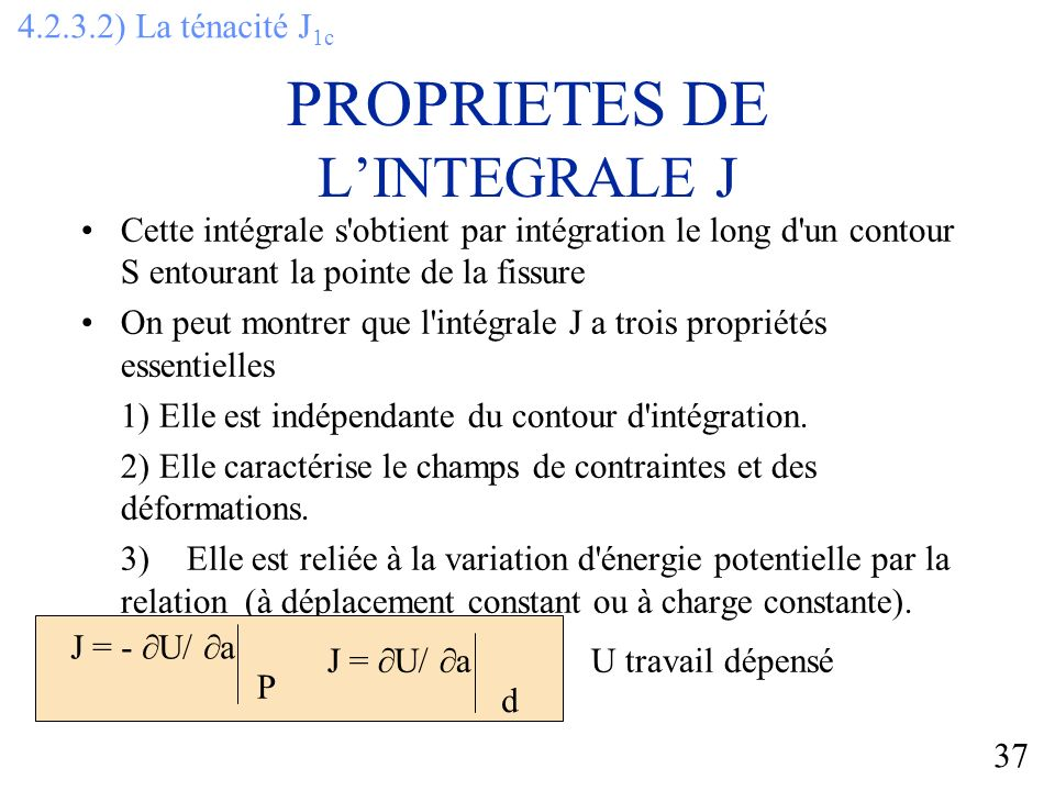 PROPRIETES DE L'INTEGRALE J