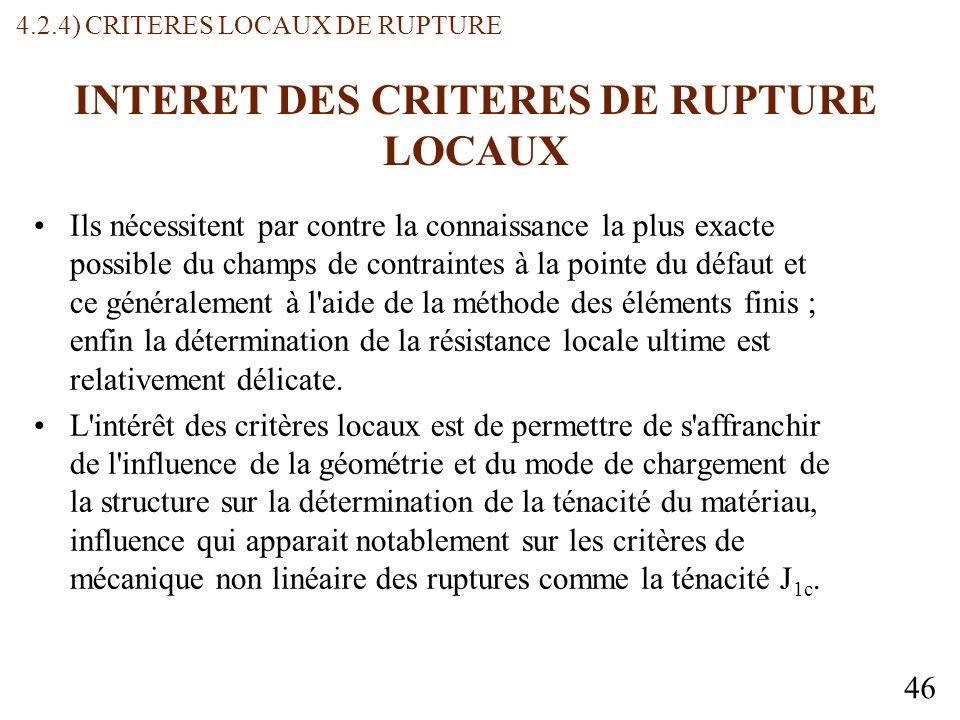 INTERET DES CRITERES DE RUPTURE LOCAUX