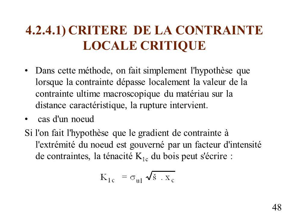 4.2.4.1) CRITERE DE LA CONTRAINTE LOCALE CRITIQUE