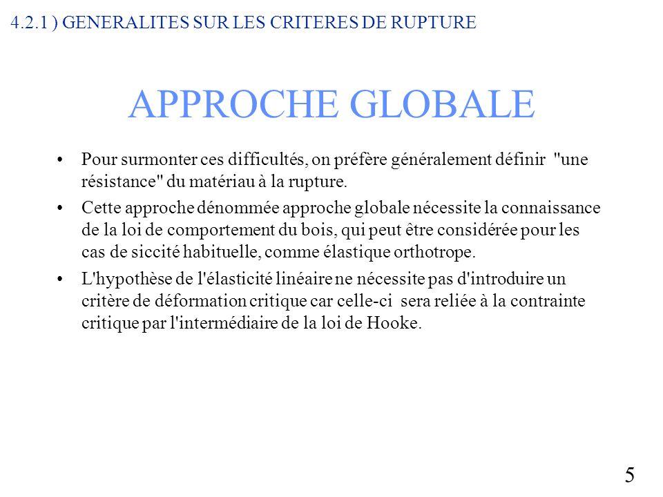 APPROCHE GLOBALE 4.2.1 ) GENERALITES SUR LES CRITERES DE RUPTURE