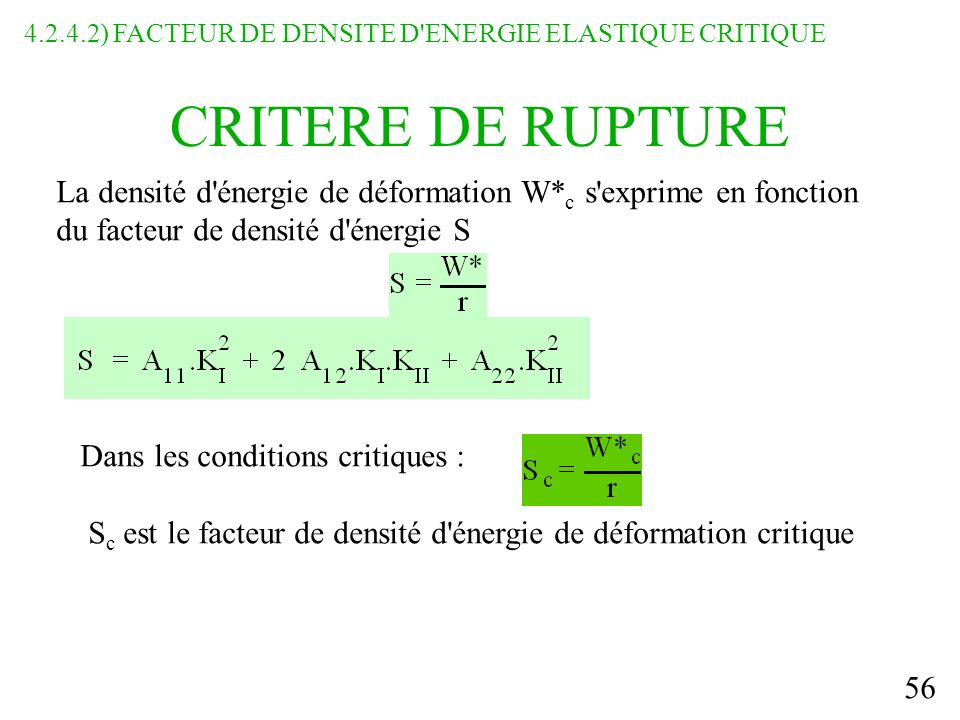 4.2.4.2) FACTEUR DE DENSITE D ENERGIE ELASTIQUE CRITIQUE