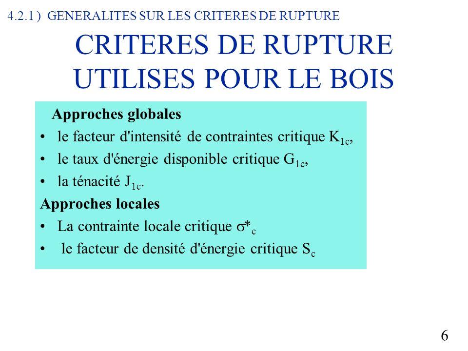 CRITERES DE RUPTURE UTILISES POUR LE BOIS