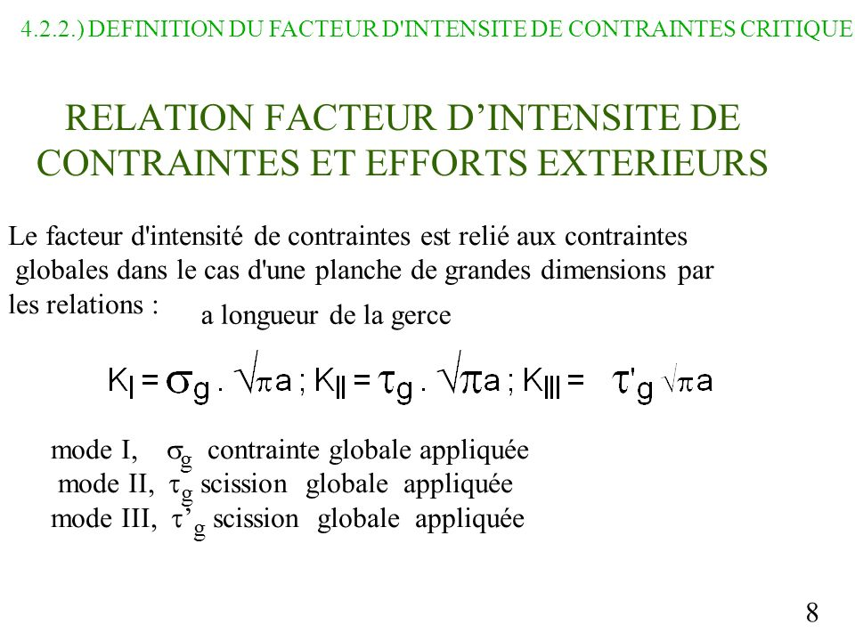 RELATION FACTEUR D'INTENSITE DE CONTRAINTES ET EFFORTS EXTERIEURS
