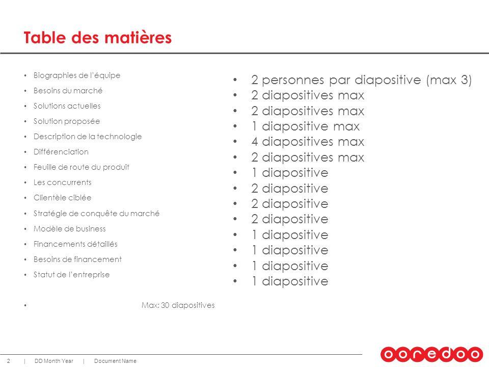 Table des matières 2 personnes par diapositive (max 3)