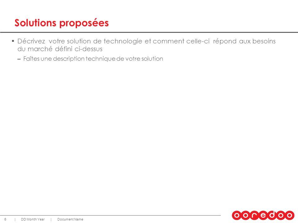 Solutions proposées Décrivez votre solution de technologie et comment celle-ci répond aux besoins du marché défini ci-dessus.