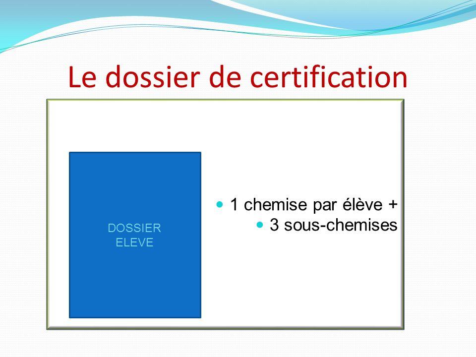 Le dossier de certification