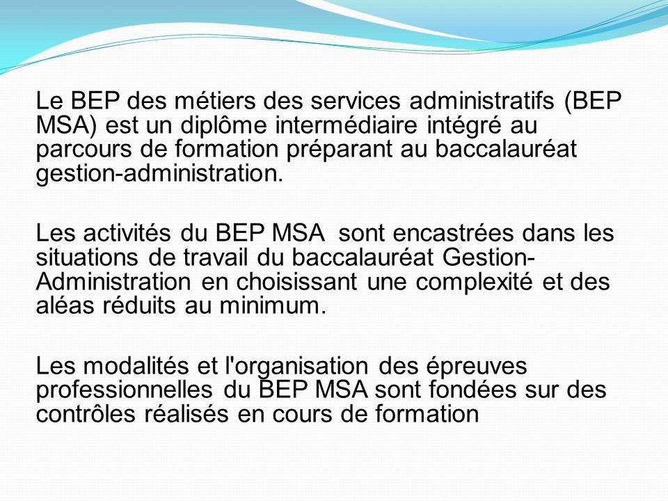 Le BEP des métiers des services administratifs (BEP MSA) est un diplôme intermédiaire intégré au parcours de formation préparant au baccalauréat gestion-administration.