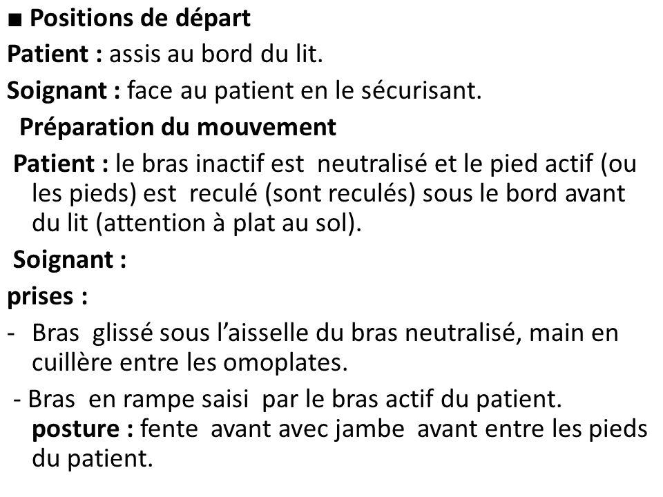 ■ Positions de départ Patient : assis au bord du lit. Soignant : face au patient en le sécurisant.