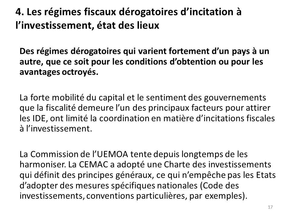4. Les régimes fiscaux dérogatoires d'incitation à l'investissement, état des lieux