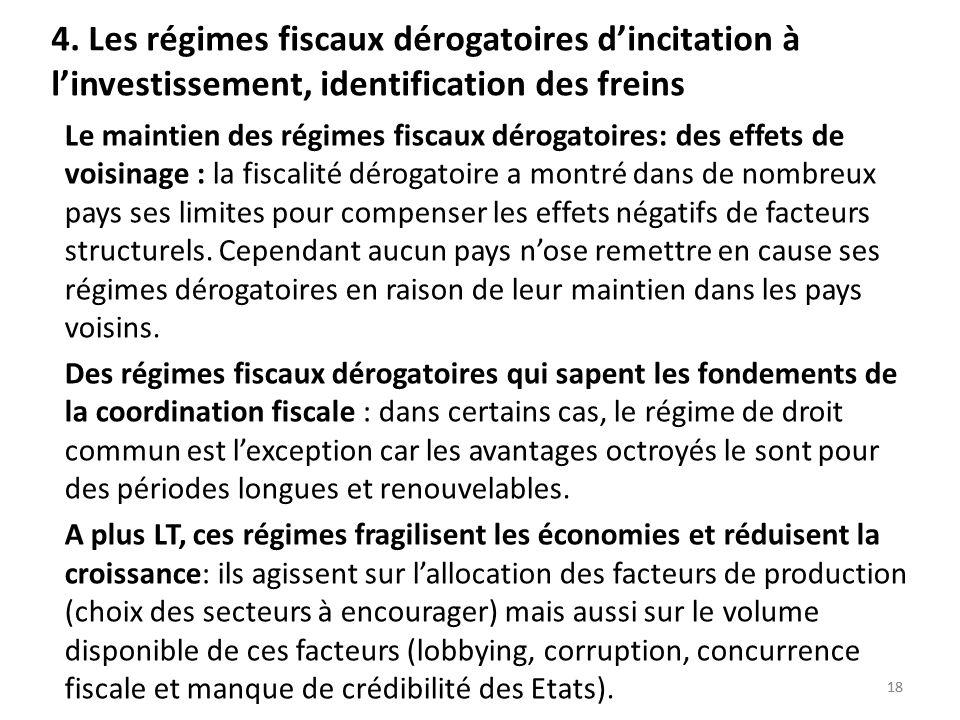 4. Les régimes fiscaux dérogatoires d'incitation à l'investissement, identification des freins
