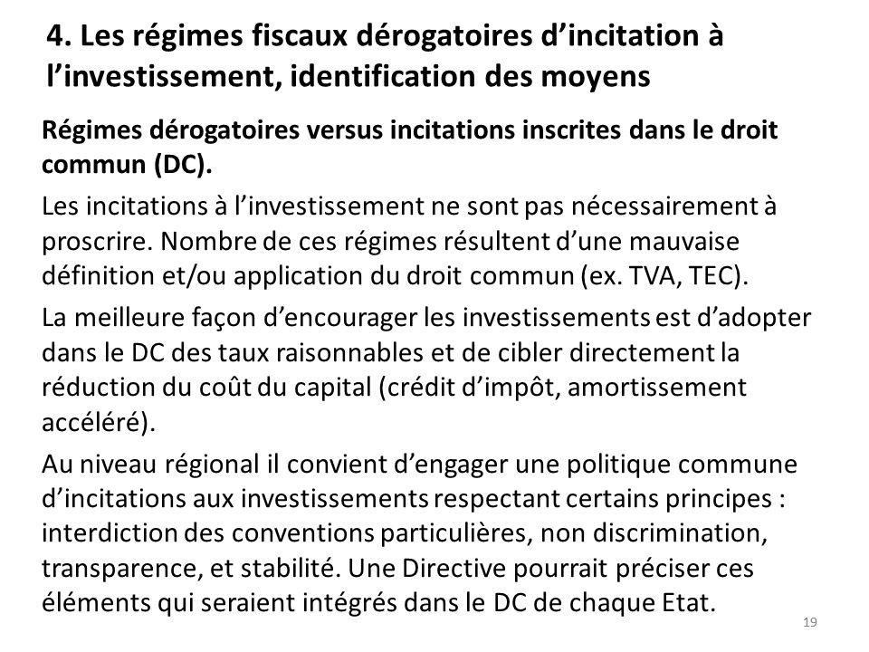 4. Les régimes fiscaux dérogatoires d'incitation à l'investissement, identification des moyens