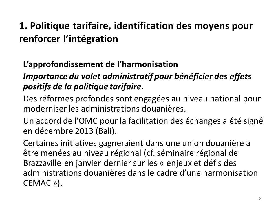 1. Politique tarifaire, identification des moyens pour renforcer l'intégration