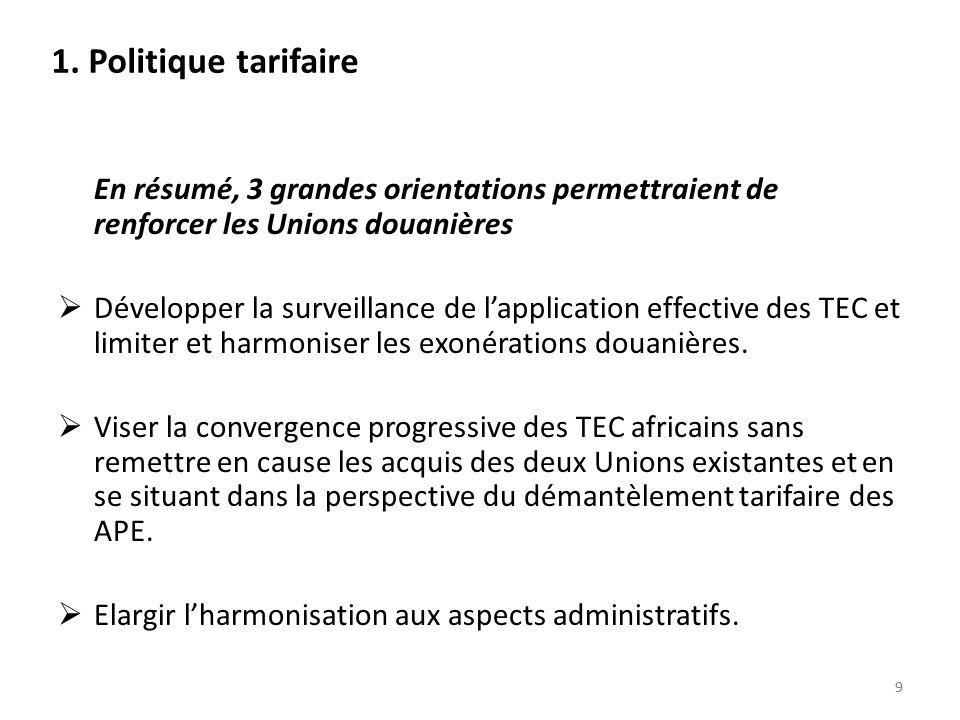 1. Politique tarifaire En résumé, 3 grandes orientations permettraient de renforcer les Unions douanières.