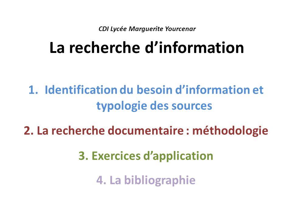 CDI Lycée Marguerite Yourcenar La recherche d'information