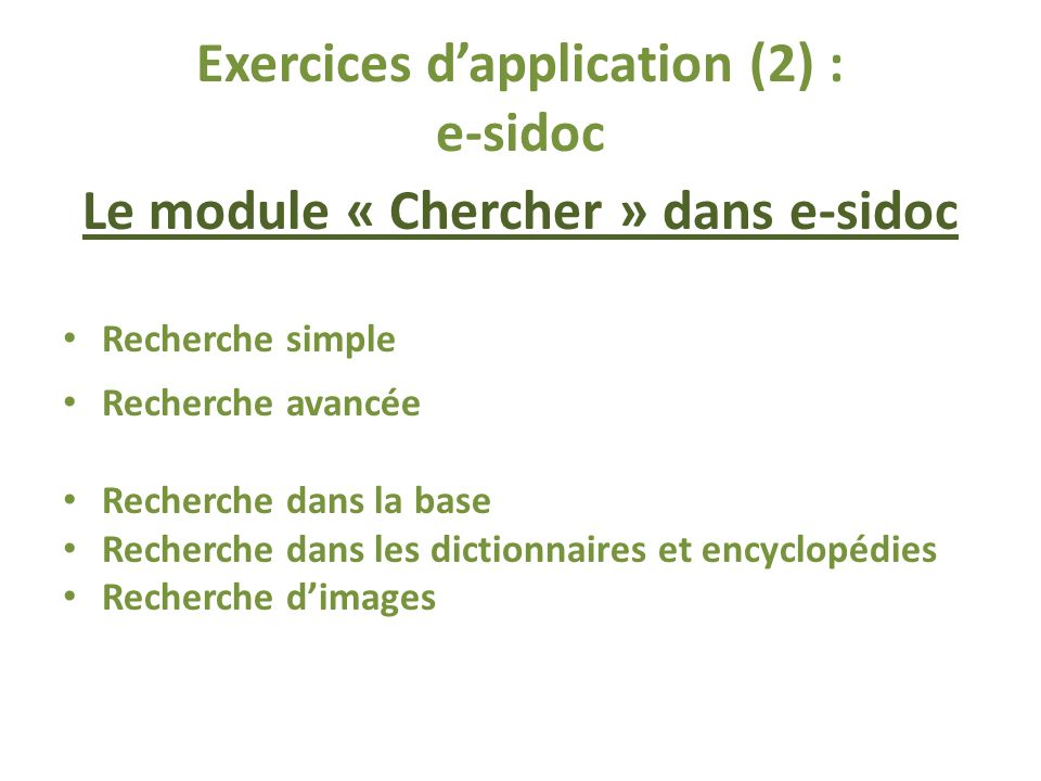 Exercices d'application (2) : e-sidoc