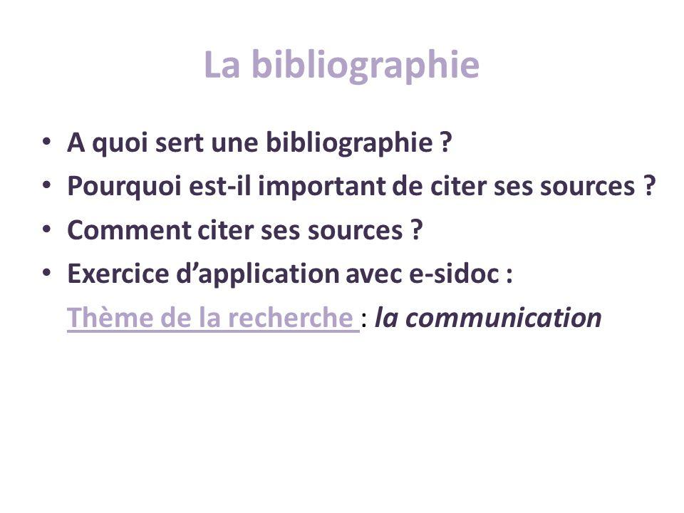 La bibliographie A quoi sert une bibliographie